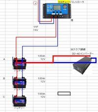 ソーラーパネルで発電してチャージコントローラー経由で並列につないだ充電池3つに充電しているのですが、3つとも赤いインジケーターから、10時間ほどで図のAだけ黒で充電されているようです。 残りの2つは赤...