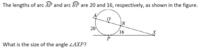 扇形の中心角の求め方に関する質問です。 長さ20と長さ16の扇形の中心角はそれぞれいくらになりますか? 求め方も教えて下さい。 (問題は英語になっていますが無視してもらって結構です)