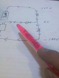 ペンの先の真ん中の線の電流は どちらに流れていますか?