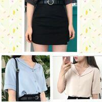 写真の黒のスカートにはベージュのブラウスかスカイブルーのブラウスどっちが合いますか? (センスが無くて1人では決められません...笑) 左下がスカイブルーで右下がベージュです。 どっちが黒のスカートに似合うと思いますか?