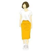 アラサーです。 山吹色のミモレ丈のタイトスカートを買いました。 図のような白のカットソー、白のソックス、白のオールスターを合わせようと思うのですが、バッグはどのようなものがいいと思 いますか。 また、白のカットソー、白のソックス、白のオールスターよりもこうしたほうがオシャレだよ!というような案があればそちらも教えていただきたいです。