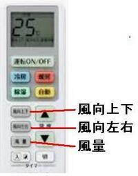 エアコンのリモコン ですが、 使いにくくありませんか? 風量、 風向上下、 風向左右 は、 ▲▼ のボタンがあってしかるべきですが、 ありません。  [風量]、 [風向上下]、 [風向左右] のボタンだけがあ...
