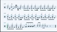 ドラム初心者で下の画像のバスドラムの半音上の太鼓はどこを叩くのですか? (画像はワンオクの完全感覚Dreamerの1番最後の部分です)