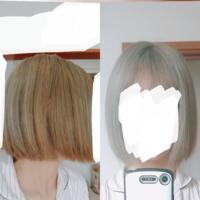 髪の毛の量が多く ブリーチ2回したため傷んで硬くなってる髪の毛なのに、切りっぱなしボブにしてしまいました。 正面から見るとおカッパです。最悪です。 どうすれば少しでもごまかせますか? また、早く髪の毛...
