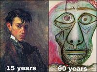 パブロ・ピカソの自画像って若い頃と老後で どうしてこんなに違うんですか? 老後はアニメに出てきそうな顔に見えます。
