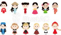 このイラストの民族衣装はそれぞれどこの国の民族衣装ですか?
