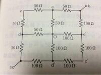 電気回路、回路の対称性についてです。 写真のa-b間の合成抵抗の値の求め方を教えていただきたいです。 お願いします。