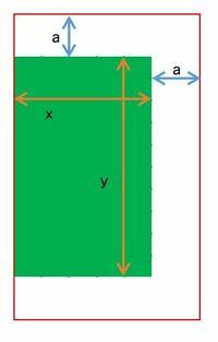 エクセルでaの数字を求める計算式を教えてほしいです。 緑の四角の面積に対して指定の面積のサイズになるように3辺を同サイズ広げる(小さくする)計算式を作りたいです。x、yの数字は特定の数字が入ります。 例えばx=1、y=1、a=0.5の場合は面積300%になります。 この面積300%を入力するとaの数字が求められるようにしたいです。  よろしくお願いします。