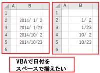 エクセル2013 VBA で日付を空白で揃えたい。 アクティブシートのB2:B50を図のように空白で揃えたいのですが VBAコードとその時のセルの書式設定-ユーザー設定がわかりません  すみません 教えて頂けますでしょ...