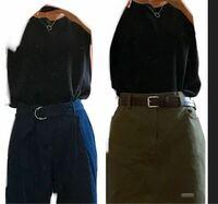 どちらがマシですか? 上は黒の無地ノースリーブです。 ネックレスつけてます。 下は、左は藍色のワイドズボンです。 右はモスグリーン色の膝丈スカートです。 大人しめでいきたいです。