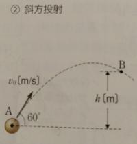 物体が点A、B間を運動するとき、次の問いに答えよ。物体の質量をm(kg)、点Aでの物体の速さをv0(m/s)、重力加速度の大きさをg(m/s^2)とし、空気の抵抗は無視する。また、答えの分数や根号はそのままでよい。 (4)点...