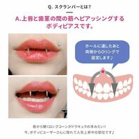 スクランパーの牙ピについて 画像のように、口を閉じた時にちょっとだけ牙が見えるくらいのピアスは何ミリくらいでしょうか?