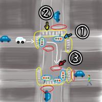 車の交通ルールについて質問です。 ・番号の説明 ①信号機(歩行者、分離式) ②横断歩道 ③停止線  下の図の白い車が矢印の方向に向かい、曲がった先の信号が赤の場合は止まるべきですか? ちなみに、この時は人が歩いている方の信号は(人も車も)赤です。  前回この状態に差し掛かり、停止線で停止していると同じ場所から曲がってきた後ろの車にクラクションを鳴らされたので質問してみました。 詳しい方、教え...