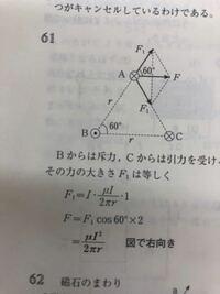 物理のエッセンスの電磁気61番の問題について質問です。 F1を求める際の×1はどこからきたのでしょうか?