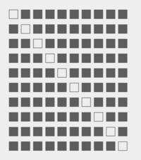 C言語でこの図形を作りたいのですが、どのようにプログラムを書けば良いのかよく分かりません‥。 個別に黒箱と白箱を表示させるようにループさせるのか、間に入れていくのか、もしくは違うやり方なのか検討も付かない状況です‥どなたか教えてください。
