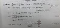 d=log10 2のとき、3行目の式から4行目の式への計算過程を解説して欲しいです お願いします