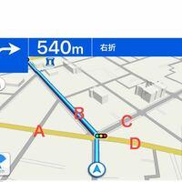交差点でのウインカーについて。 画像を添付しますので、ご参照お願いいたします。  Bの道には左のウインカー、Cの道には右のウインカーを出すべきでしょうか?  直進、右折、左折などの路面標識が無いので困って...