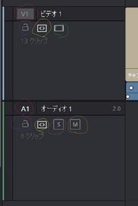 Davinci ResolveのUIについて エディットのタイムライン左側にいくつか選択できる...  Davinci ResolveのUIについて エディットのタイムライン左側にいくつか選択できるオブジェクト(画像参照)がありますがそ...