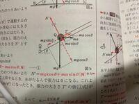 斜面上の運動の基準軸のとり方について質問です。 写真の図二で、自分は基準軸を地上線と水平とその法線の方向に軸を取ってしまいました、  ですが問題では斜面方向に軸を取っています。 斜面方向に軸をとる時と...