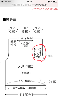 編み図の読み方を教えてください。 写真の赤マルの部分はどういう意味ですか?