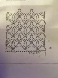 かぎ針編み、教えてください。下のこの編み図は3の鎖編みに長編み3目→鎖3目→1の鎖編みに長編み3目を編む、でいいのでしょうか?その場合どっちが上にくるのでしょうか?