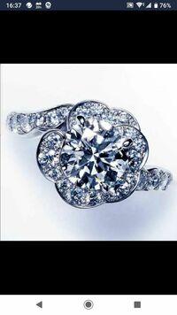 この指輪の写真は実寸大ではありません。この指輪の大きさが平均的な女性の指のサイズとして、この指輪の宝石がすべてダイヤモンドだとしたら値段はいくらくらいだと思いますか?