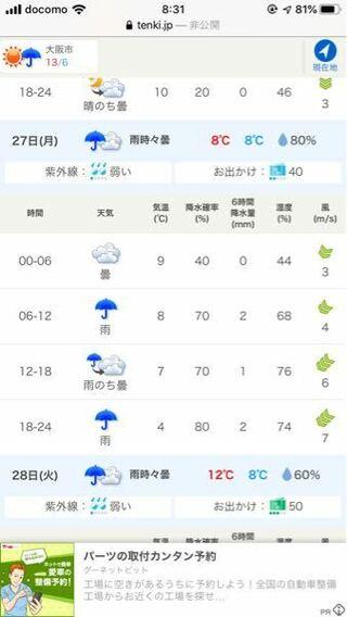 の 大阪 あす 天気 の