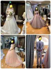 ウェディングドレス、カラードレスにご意見下さい。 マタニティーで身内だけで小さな結婚式、お食事会をします。 体調が悪くならないように後ろをしっかり閉めずに着ています。 似合っていな いでしょうか? ...