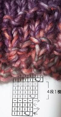 ねじり増し目(右端・表目)を編んだつもりなのですが、増し目の部分が上にひきつっています。編み図の通りに編めているのでしょうか?  ねじり増し目の編み方を調べると、一般的に前段も表目で 説明されていますが、この編み図だと前段が裏目になっています。引き上げる渡り糸が違うのでしょうか?  色が混じっている毛糸なので分かりづらいと思いますが、画像の矢印の部分がねじり増し目をした部分です。