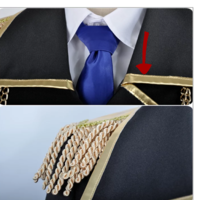 コスプレ衣装など制作してる方に質問です。 コスプレなどの軍服衣装の襟付近についてる 金色の布?(画像赤い矢印) の名前を教えてください。