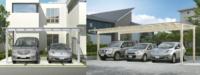 カーポートの屋根の傾き方向  平面タイプのカーポートを作ります。 住宅の外壁に沿って外壁と垂直に自動車を駐めます。 見て回ると, 屋根の傾きが家に向かって低くなるものと 反対に道路に向かって低くなる...