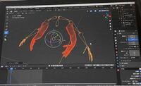 blenderでアニメーションを作っているのですが、フリー素材の腕をお借りしてアーマーチェアを関連付けをしようとしています。各ボーンを腕に合うように調整したあと、メッシュ→ボーンの順で選択し、ctrl+Pで自動のウ ェイトを選択したのですが、関連付けた瞬間に腕が内側に大きく曲がってしまい、ボーンとズレます。また、この状態で指のボーンを動かしてみてもメッシュの方は全く動かず、腕辺りでないと動き...