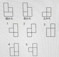 下の問題教えてください。 3辺の長さが2、1、1の合同な直方体を3つつなぎ合わせて1つの立体とし、それを前から、右から、上から見たとき下図のようであった。この立体を左から見た図として正しいものは次のうちど...