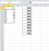 入力規則を教えてください。 エクセル2010使用。 C列の数値をA1に入力規則設定してプルダウンしたところ、画像のようにC列の並びのまま数字が出ました。 C列の並びを変えず、プルダウンの内容を昇順や降順に変えることはできませんか?