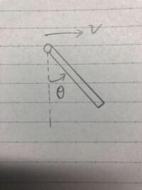 剛体の力学について質問です。 図のように、剛体振り子が一端を中心に回転し、速度vで移動するときの運動エネルギーの求め方についてで、  重心の並進運動の運動エネルギーと、重心まわりの回転エネルギーの和が...