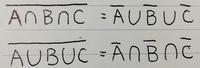 数学ⅠAの集合について。ドモルガンの法則を使って以下の2つの式の証明をしてください。