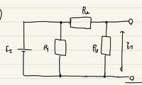 電気回路です。 写真のような回路について、テブナンの等価回路を考えたいです。 そのさい、Et = (R3*E1) / (R2 + R3) となるはずですが、合成抵抗Rの求め方がわかりません。 電圧源を短絡させるのはわかりま...