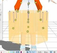 pmxエディターについて。 スカートの物理演算なのですが、画像で載せたところまで曲面自動プラグインで進めました。 そこまではいいのですが、そこから先にどう進んでいいのかわからずどうしようもなかったので質問させていただきます。。  まず、スカートの一番上のボーンの親を上半身2に設定するのはそうすればよいのでしょう? それと、剛体がこのままだとMMDが落ちてしまうようですがどこに接続した...