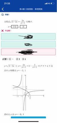 左辺の式、右辺の式ともにグラフはかけたのですが、 第一象限の交点がなぜ(1.1)と断定出来るのか教えて欲しいです。 左辺²=右辺²で解いてみたのですが、なかなか計算が合わないので質問させていただきました。 グラフから求める方法、式を2乗する方法どちらでもいいので教えて欲しいです。