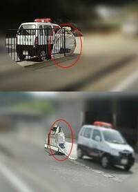 先日、某国道を走行中、レーダー探知機が反応しました。 帰宅後、ドラレコの動画を確認してみると、探知機が反応した付近の空き地にパトカーとその側のフェンスに謎の袋(画像の赤丸)が掛けてありました。 このパトカーが停まっていた先には、他のパトカーや警察官もいなかったのですが、これ(謎の袋)は移動式オービスなのでしょうか? もし移動式オービスやネズミ捕りの場合後日通知などが来るのでしょうか?