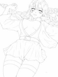 イラスト評価 アドバイスお願いします! 鬼滅の刃の甘露寺蜜璃ちゃんを描きました。 一回目の質問で指摘されたところを修正しました。 塗りに入る前におかしい所を治して起きたいので、 直した方がいいところなど...