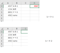 Excelについて質問です。   シート1A列:コード、B列:名前 シート2A列:コード、B列:名前 が同じことが書いてあるかを分かる関数はありませんか? シート2B列を基準に考えて シート1A列とシート2A列が違う名前のようなら シート2A列が表示されるようにしたいです。