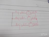 この問題のR1、R2、R3を流れる電流を重ね合わせの理を使って求めたいのですが、解き方が分かりません。途中過程などを含めて教えていただきたいです。