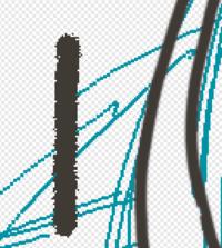 adobe photoshop CS6でブラシがおかしい。 以前まで右の黒線のようにぼやけたブラシで描けていたのですが、何かの拍子に設定が変わってしまったようで左の粒子Lのようなギザギザしたブラシになってしまいました。...