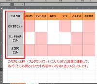 プルダウンリストに入力された言葉に連動して、必要となる項目のマスを赤く塗りつぶしたいです。  こんにちは。Excelについてのご質問をさせていただきます。 プルダウンリストに入力された言葉に連動して、各行(セット内容)ごとに必要となる項目のマスを赤く塗りつぶしたいです。(イメージが分かりやすいように画像を添付しました。)  この場合、どのように設定を行えばうまく行くでしょうか。 よ...
