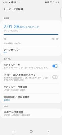 データ使用警告といって なにかお知らせが届いて タップしたらこんな画面なんですか、 どういうことでしょうか? 通信制限かなにかですか?  普段から家ではWi-Fiを使っているのですが なんででしょうか?  Wi-Fiを契約する前はデジラアプリで 残容量を確認していましたが 今確認したら 5ギガあり、減っている様子はありませんでした。 詳しいかた 回答よろしくお願いい...