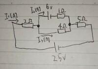 各抵抗を流れる電流I1、I2、I3を教えてください。できれば解き方も詳しく教えてください。