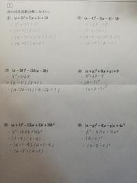 中学生です。いろいろな因数分解の問題を解いたのですが、これで答えは合っていますか?
