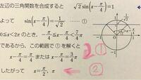 この問題の解き方わかる方いらっしゃいますか? 【0≦x<2πのとき、方程式sinx-cosx=1を解け。】 という問題で、赤くマークした①の解き方と 赤くマークした②の 結局これは何を(どこを)求めたい問題なのかが分かりません;;  教えてくださる親切な方いらっしゃいませんか?? よろしくお願い致します。