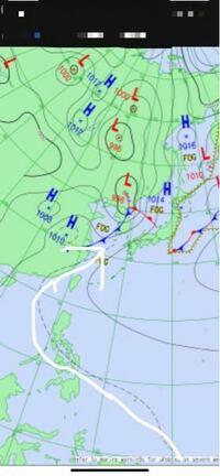 天気図に詳し方に質問です。矢印のところの----------------点線はなんのことを意味しているのでしょうか?